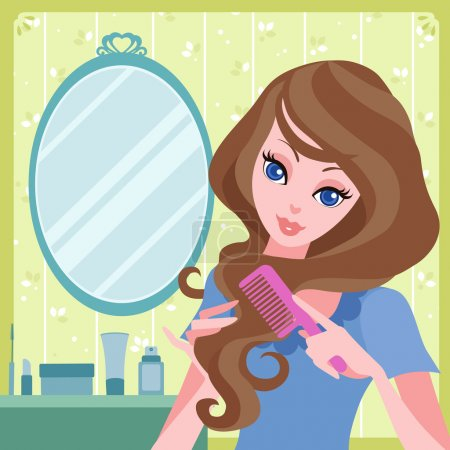 Illustration for Vector illustration of young girl combing her hair - Royalty Free Image