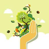 Flat design vector illustration concept of ecology