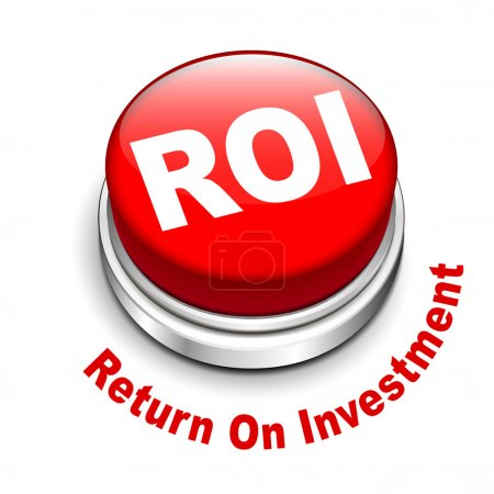 Illustration for 3d illustration of roi (return on investment) button isolated white background - Royalty Free Image