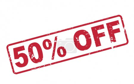 stamp 50 percent off with red text on white