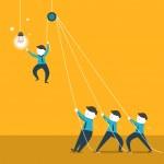 Flat design vector illustration concept of team wo...