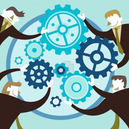 Illustration pour Illustration vectorielle de conception plate concept de travail d'équipe - image libre de droit
