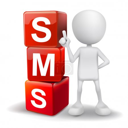 3d illustration of person with word SMS cubes