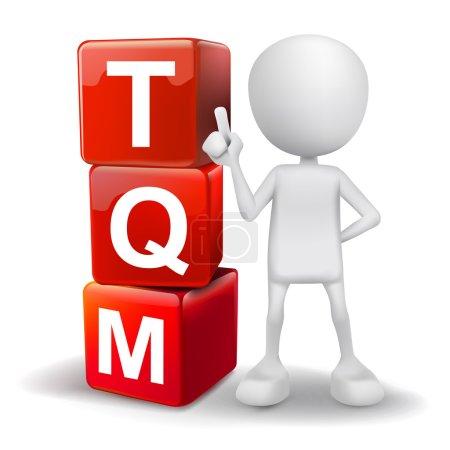Illustration pour Vecteur 3d humain avec mot TQM cubes de gestion de la qualité totale sur fond blanc - image libre de droit