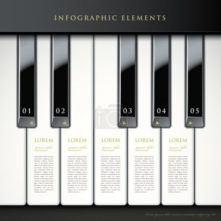 Illustration pour Touches de piano 3d abstrait de vecteur réaliste éléments infographiques - image libre de droit