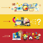 flat design for management strategy and digital marketing