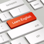 learning English concept with computer keyboard