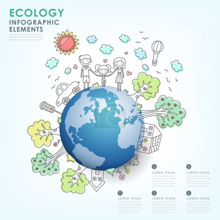 Illustration for Hand drawn vector ecology illustration infographic elements design - Royalty Free Image