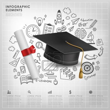 Illustration for Graduation concept vector illustration infographic elements design - Royalty Free Image