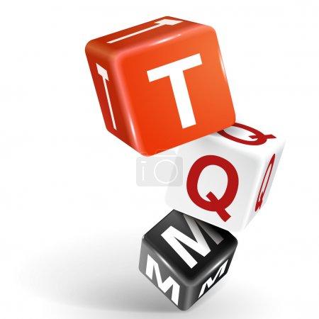 Illustration pour Dés vectoriels 3d avec mot TQM gestion de la qualité totale sur fond blanc - image libre de droit