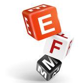3d dice illustration with word EFM