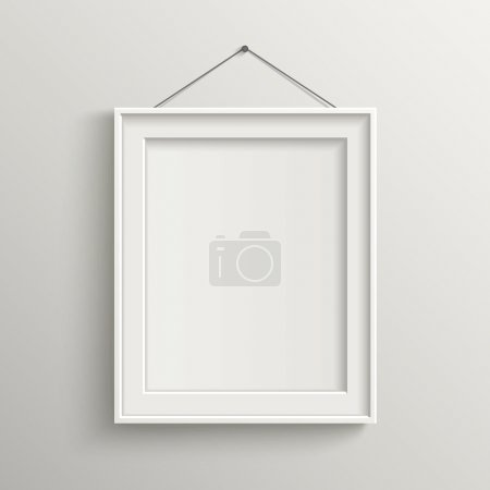 Illustration for White style of blank frame on white wall with shadow - Royalty Free Image
