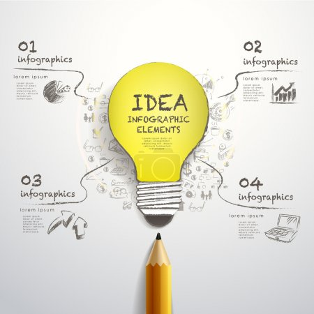 Illustration for Creative template with pencil and hand-draw paper-cut bulb, can be used for infographics and banners, idea concept vector illustration - Royalty Free Image