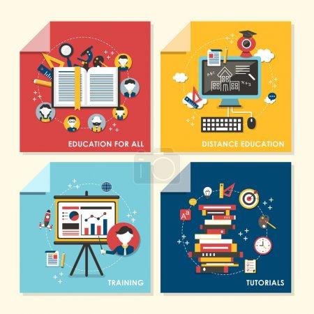 Illustration pour Ensemble vectoriel de conception plate illustration de concept pour l'éducation pour tous, enseignement à distance, formation, tutoriels - image libre de droit