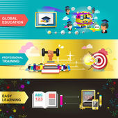 Flat design concept for education used for web banners and printed materials