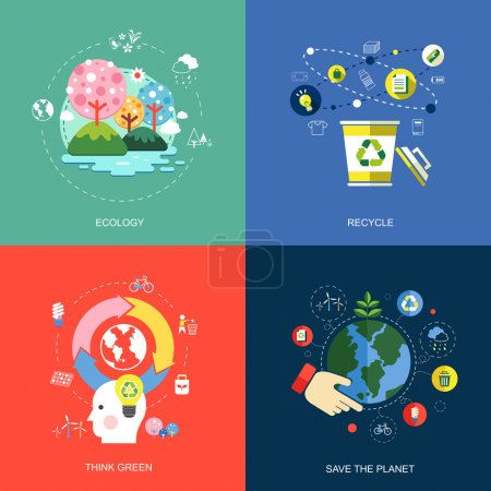 Illustration for Set of flat design concept icons for web and mobile phone services and apps. icons for ecology, think green, recycle and save the planet. - Royalty Free Image