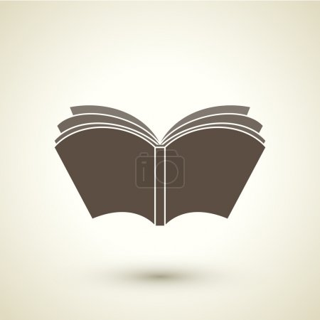 Retro style open book icon isolated on brown backg...