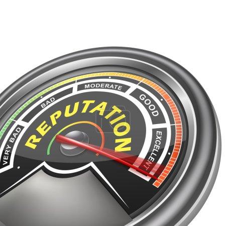 Illustration pour Indicateur de compteur conceptuel de réputation vecteur isolé sur fond blanc - image libre de droit
