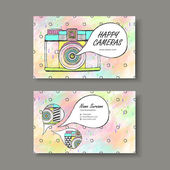 vector business card design of hand drawn camera