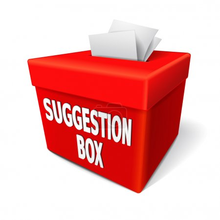 A red suggestion box with notes of paper stuffed i...