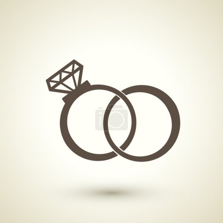 retro style  wedding rings icon
