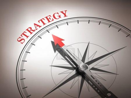 Illustration pour Boussole abstraite avec aiguille pointant le mot stratégie en rouge et blanc - image libre de droit