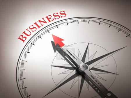 Illustration for Abstract compass needle pointing the word business in red and white tones - Royalty Free Image