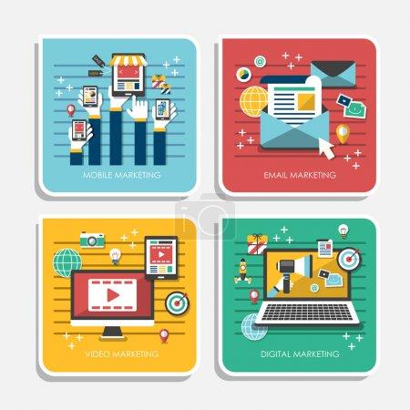 Illustration pour Ensemble d'icônes de conception plate pour le marketing web et de téléphonie mobile - image libre de droit