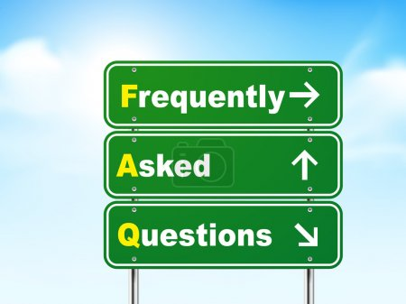 Illustration for 3d frequently asked questions road sign isolated on blue background - Royalty Free Image