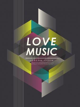 Illustration for Modern love music poster in dark tones - Royalty Free Image
