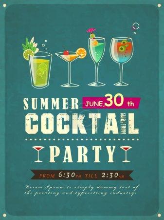 Illustration pour Modèle d'affiche de cocktail d'été de style rétro - image libre de droit