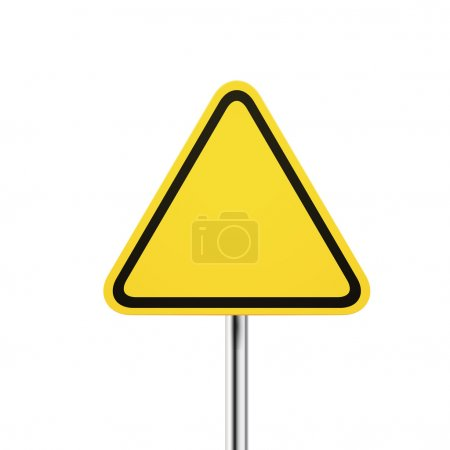 Blank warning yellow road sign