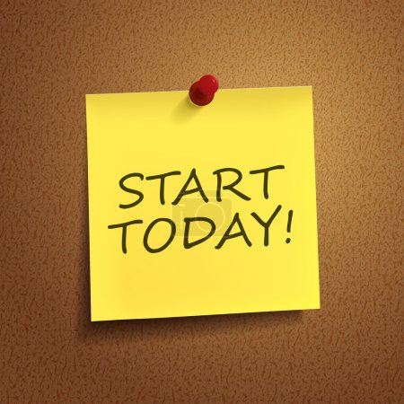 start today words on post-it