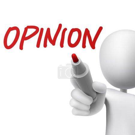 Illustration pour Opinion écrite par un homme sur fond blanc - image libre de droit