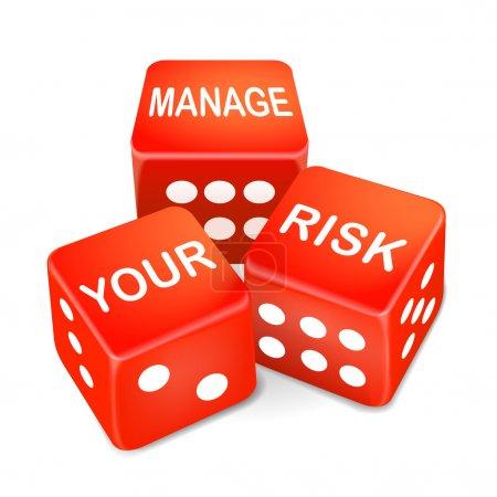 Illustration pour Gérer vos mots de risque sur les trois dés rouges sur fond blanc - image libre de droit