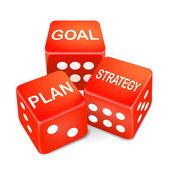 Cíl, plán a strategii slova na tři červené kostky