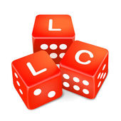 limited liability company words on three red dice