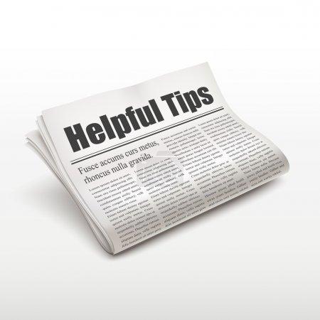 Helpful tips words on newspaper