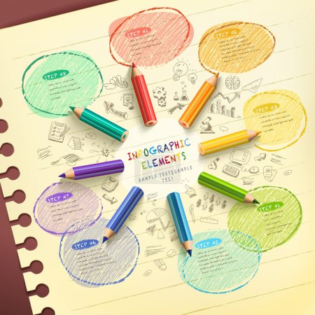 Illustration for Creative template infographic with colorful pencils drawing flow chart over hand drawn background - Royalty Free Image