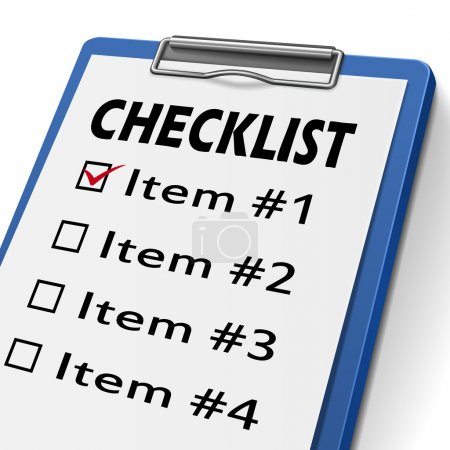 Checklist clipboard with check boxes marked for it...