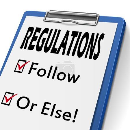 Illustration pour Presse-papiers de règlements avec cases à cocher marqués pour suivi et ou d'autre - image libre de droit