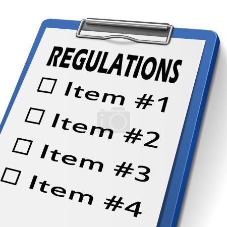 Illustration pour Presse-papiers de règlements avec cases à cocher marquée pour l'article un, deux, trois et quatre - image libre de droit