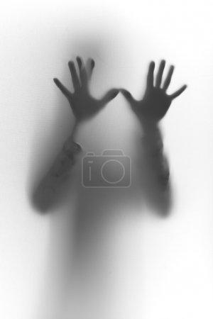 Photo pour Silhouette avec mains sur verre - image libre de droit