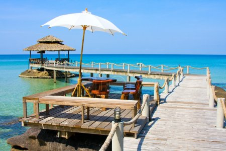Photo for Wooden pier in tropical paradise , Koh Kood island , Thailand - Royalty Free Image
