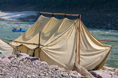 Camp on the banks of the Ganges River. India.