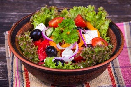 Photo for Fresh vegetable greek salad, close up - Royalty Free Image