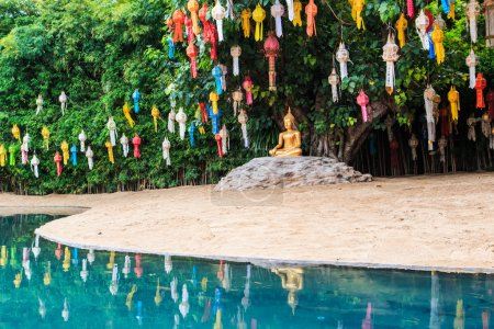 Photo for Gold buddha at Wat Phan Tao temple chiang mai Thailand - Royalty Free Image