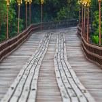 The old wooden bridge Bridge across the river and ...