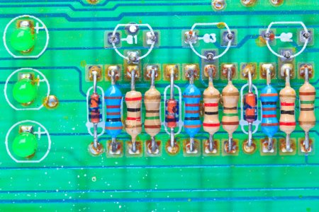 Photo for Background of resistor electronic components mounted on a motherboard - Royalty Free Image