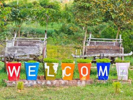 Photo pour Vítejte v Asii Thajsko na zahradní květináče - image libre de droit